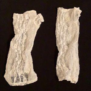 Vintage white fingerless gloves cute retro chic